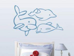 Δελφίνια Παιδικά Αυτοκόλλητα τοίχου 47 x 30 εκ.