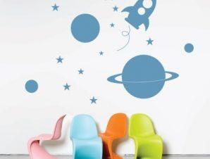 Διάστημα Παιδικά Αυτοκόλλητα τοίχου 58 x 80 cm