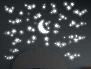 Διακοσμητικά Αυτοκόλλητα Τοίχου Φωσφορίζοντα Starry Night