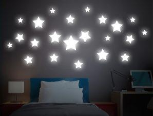 Διακοσμητικά αυτοκόλλητα τοίχου Big Stars Φωσφορίζοντα L