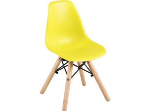 """Καρέκλα """"ART Wood Kid"""" ξύλινη/pp σε κίτρινο χρώμα 32x34x57"""