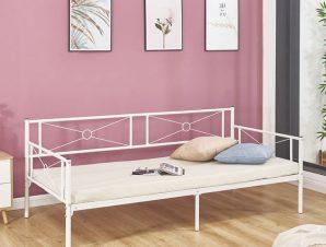 """Κρεβάτι """"QUEEN"""" μονό μεταλλικό σε χρώμα λευκό 196x95x75"""
