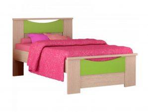 """Παιδικό κρεβάτι """"ΧΑΜΟΓΕΛΟ"""" ημίδιπλο σε χρώμα δρυς-λαχανί 110×190"""