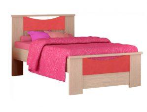 """Παιδικό κρεβάτι """"ΧΑΜΟΓΕΛΟ"""" ημίδιπλο σε χρώμα δρυς-κόκκινο 110×190"""