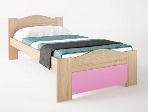 """Παιδικό κρεβάτι """"ΚΥΜΑ"""" μονό σε χρώμα δρυς-ροζ 90×190"""