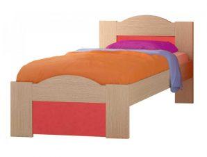 """Παιδικό κρεβάτι """"ΚΥΜΑ"""" ημίδιπλο σε χρώμα δρυς-κόκκινο 110×190"""