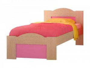 """Παιδικό κρεβάτι """"ΚΥΜΑ"""" ημίδιπλο σε χρώμα δρυς-ροζ 110×190"""