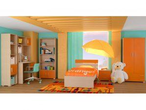 """Παιδικό δωμάτιο """"NOTA"""" σετ 7 τμχ σε χρώμα δρυς-κόκκινο"""