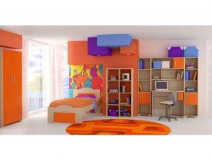 """Παιδικό δωμάτιο """"ΚΥΜΑ"""" σετ 7 τμχ σε χρώμα δρυς-κόκκινο"""