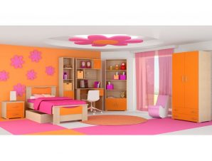"""Παιδικό δωμάτιο """"ΧΑΜΟΓΕΛΟ"""" σετ 9 τμχ σε χρώμα δρυς-κόκκινο"""