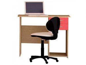 Παιδικό γραφείο σε χρώμα δρυς-κόκκινο 100x55x80