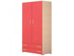 Ντουλάπα παιδική δίφυλλη σε χρώμα δρυς-κόκκινο 85x50x180