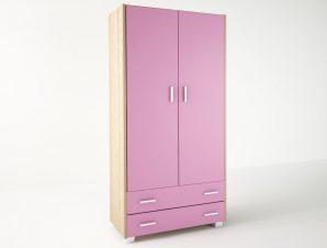 Ντουλάπα παιδική δίφυλλη σε χρώμα δρυς-ροζ 85x50x180