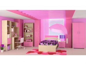 """Παιδικό δωμάτιο """"NOTA"""" σετ 7 τμχ σε χρώμα δρυς-ροζ"""