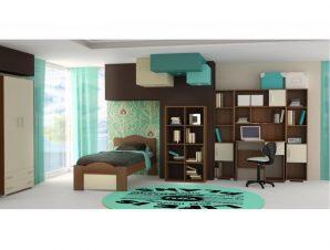 """Παιδικό δωμάτιο """"ΚΥΜΑ"""" σετ 7 τμχ σε χρώμα εκρού-καρυδί"""