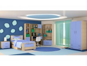 """Παιδικό δωμάτιο """"ΧΑΜΟΓΕΛΟ"""" σετ 9 τμχ σε χρώμα δρυς-μπλε"""