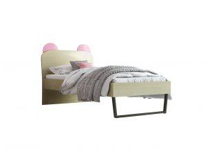 """Παιδικό κρεβάτι """"ΚΟΡΩΝΑ"""" ημίδιπλο σε χρώμα δρυς-ροζ 110×190"""