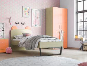 """Παιδικό δωμάτιο """"ΚΟΡΩΝΑ"""" σετ 3 τμχ. σε χρώμα δρυς-κόκκινο"""