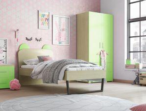 """Παιδικό δωμάτιο """"ΚΟΡΩΝΑ"""" σετ 3 τμχ. σε χρώμα δρυς-λαχανί"""
