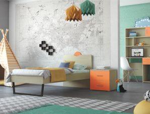 """Παιδικό δωμάτιο """"ΑΝΑΤΟΛΗ"""" σετ 5 τμχ σε χρώμα δρυς-κόκκινο"""