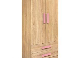 """Ντουλάπα δίφυλλη """"PLAYROOM"""" σε χρώμα σονόμα/ροζ 80x50x180"""