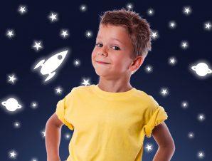 Διακοσμητικά αυτοκόλλητα τοίχου Rocket Stars φωσφορίζοντα S