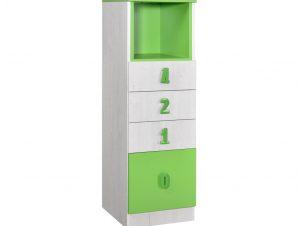 """Συρταριέρα """"NUMERO"""" με 4 συρτάρια σε λευκό δρυός-πράσινο χρώμα 40x42x126,5"""