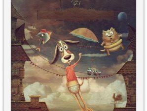 Σκυλάκι πετάει Παιδικά Πίνακες σε καμβά 40 x 40 εκ.