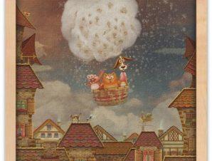 Ζωάκια σε αερόστατο Παιδικά Πίνακες σε καμβά 40 x 40 εκ.