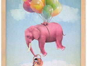 Ροζ ελεφαντάκι πετάει! Παιδικά Πίνακες σε καμβά 20 x 30 εκ.