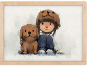 Αγκαλιά με τον πιστό φίλο Παιδικά Πίνακες σε καμβά 30 x 20 εκ.
