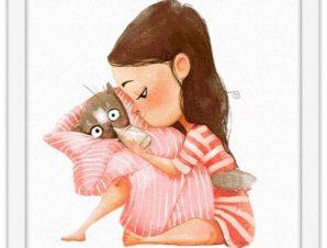 Κορίτσι ταΐζει γάτα Παιδικά Πίνακες σε καμβά 40 x 40 εκ.