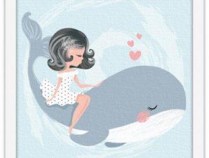 Κορίτσι πάνω σε φάλαινα Παιδικά Πίνακες σε καμβά 40 x 40 εκ.