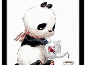 Πάντα πίνει τσάι Παιδικά Πίνακες σε καμβά 40 x 40 εκ.