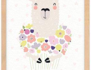 Πρόβατο με λουλούδια Παιδικά Πίνακες σε καμβά 20 x 30 εκ.