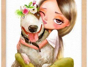 Κορίτσι αγκαλιάζει σκύλο Παιδικά Πίνακες σε καμβά 20 x 30 εκ.