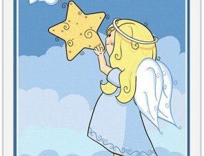 Αγγελάκι κρατά ένα αστέρι Παιδικά Πίνακες σε καμβά 20 x 30 εκ.