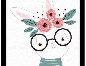 Λαγουδάκι με γυαλιά Παιδικά Πίνακες σε καμβά 20 x 30 εκ.