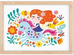Κοριτσάκι πάνω σε μονόκερο Παιδικά Πίνακες σε καμβά 30 x 20 εκ.