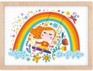 Κοριτσάκι κάνει κούνια Παιδικά Πίνακες σε καμβά 30 x 20 εκ.