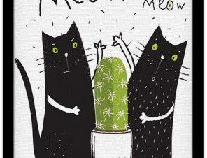 Γάτες & κάκτος Παιδικά Πίνακες σε καμβά 20 x 30 εκ.