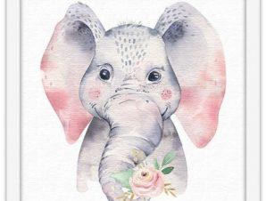 Χαριτωμένος ελέφαντας Παιδικά Πίνακες σε καμβά 40 x 40 εκ.
