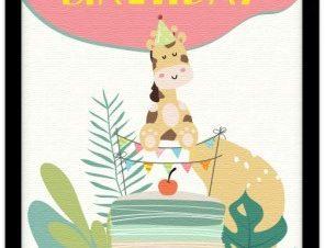 Χαρούμενα γενέθλια Παιδικά Πίνακες σε καμβά 20 x 30 εκ.