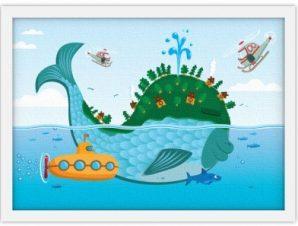 Μεγάλο ψάρι Παιδικά Πίνακες σε καμβά 30 x 20 εκ.