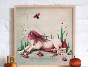 Μικρό χαριτωμένο πόνυ Παιδικά Πίνακες σε καμβά 40 x 40 εκ.