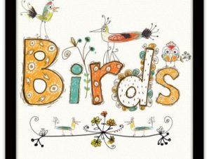 Λουλούδια και πουλιά Παιδικά Πίνακες σε καμβά 40 x 40 εκ.