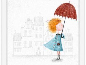 Κορίτσι με ομπρέλα Παιδικά Πίνακες σε καμβά 40 x 40 εκ.