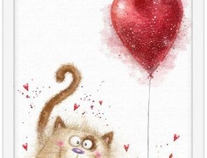 Χαριτωμένη γατούλα Παιδικά Πίνακες σε καμβά 20 x 30 εκ.