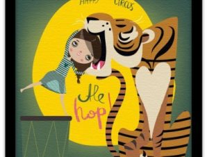 Τίγρης στο τσίρκο Παιδικά Πίνακες σε καμβά 40 x 40 εκ.
