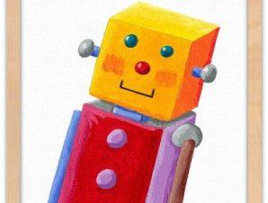 Ρομποτάκι Παιδικά Πίνακες σε καμβά 40 x 40 εκ.